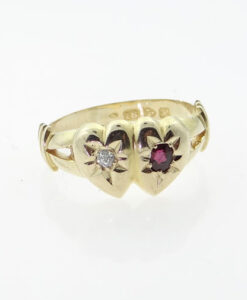 15ct Gold Diamond and Ruby Sweetheart Ring Hallmarked Chester 1908