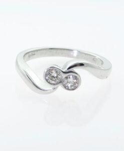 18ct White Gold Diamond Two Stone Twist Ring
