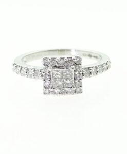 Platinum Diamond Cluster Ring Half Carat