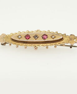 Victorian 9ct Gold Diamond and Ruby Brooch Chester 1893
