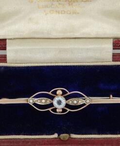 Antique Rose Gold Aquamarine & Pearl Brooch