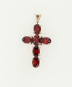 9ct Gold Garnet Cross