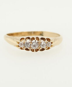 Antique 18ct Gold Five Stone Diamond Gypsy Ring