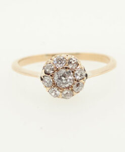 Antique 18ct Gold 0.60 carat Diamond Cluster Ring c1900