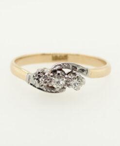 Vintage 18ct Gold Three Stone Diamond Ring c1940