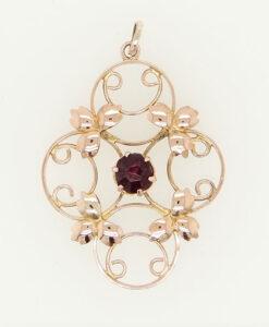Antique Amethyst 9ct Rose Gold Pendant c1900
