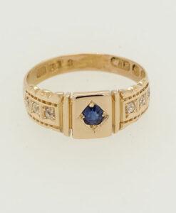 Victorian 18ct Gold Diamond and Sapphire Ring Hallmarked 1896