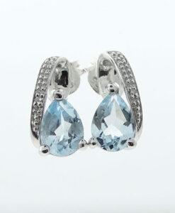 STERLING SILVER PEAR BLUE TOPAZ EARRINGS