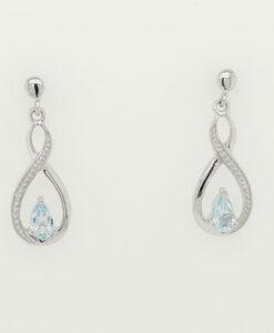 BLUE TOPAZ and DIAMOND DROP EARRINGS IN STERLING SILVER