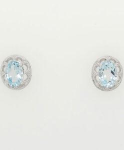 OVAL BLUE TOPAZ and DIAMOND EARRINGS IN STERLING SILVER