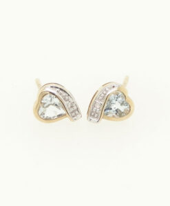 9ct Gold Aquamarine Heart and Diamond Earrings
