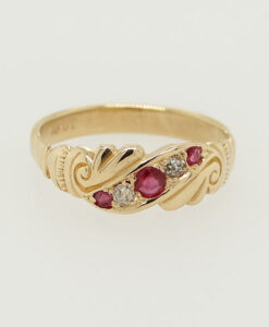 Antique 18ct Gold Diamond and Ruby Ring circa 1900