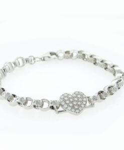 Silver Love Heart Belcher Bracelet