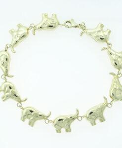 9ct Yellow Gold Elephant Link Bracelet