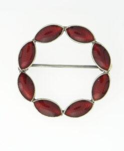 Sterling Silver Red Enamel Brooch, Made in Denmark by Volmer Bahner