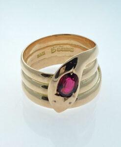 Antique 9ct Rose Gold Garnet Snake Ring