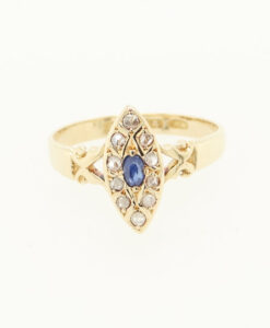 Victorian 18ct Gold Sapphire and Diamond Navette Ring