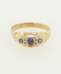 Victorian 18ct Gold Diamond and Sapphire Boat Ring