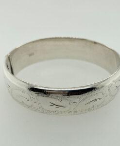 Vintage 1973 Half Engraved Sterling Silver Bangle