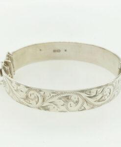 Vintage Solid Sterling Silver Engraved Bangle