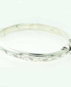 Vintage Engraved Sterling Silver Bangle
