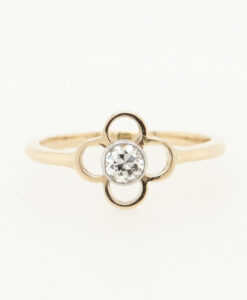Vintage 9ct Rose Gold Diamond Clover Ring